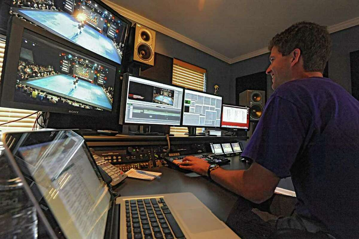 Kevin Carcich works on some editing at Carr-Hughes Production in Saratoga Springs, N.Y. on Tuesday July 12, 2011. (Lori Van Buren / Times Union)