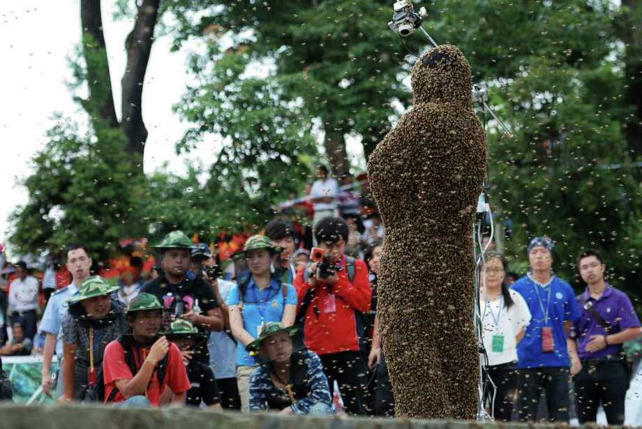 SHAOYANG, CHINA - JULY 16:  (CHINA OUT)  Spectators watch as bees cover beekeeper Wang Dalin during a 'bee bearding' contest on July 16, 2011 in Shaoyang, Hunan Province of China. Wang Dalin won the contest against fellow beekeeper Lu Kongjiang after attracting 26.86kg of bees onto his body, covered only by a pair of shorts and swimming goggles. Photo: ChinaFotoPress, Getty Images / 2011 Getty Images