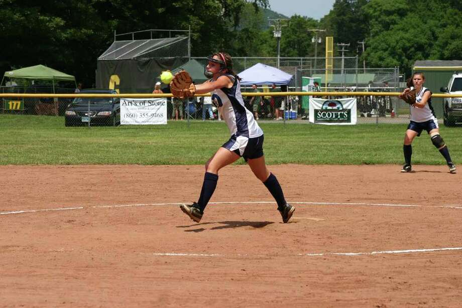 Amy Hurd, of the Norwalk Riptide 14u softball team, pitches against New Milford in the Babe Ruth state tournament. Photo: Contributed Photo