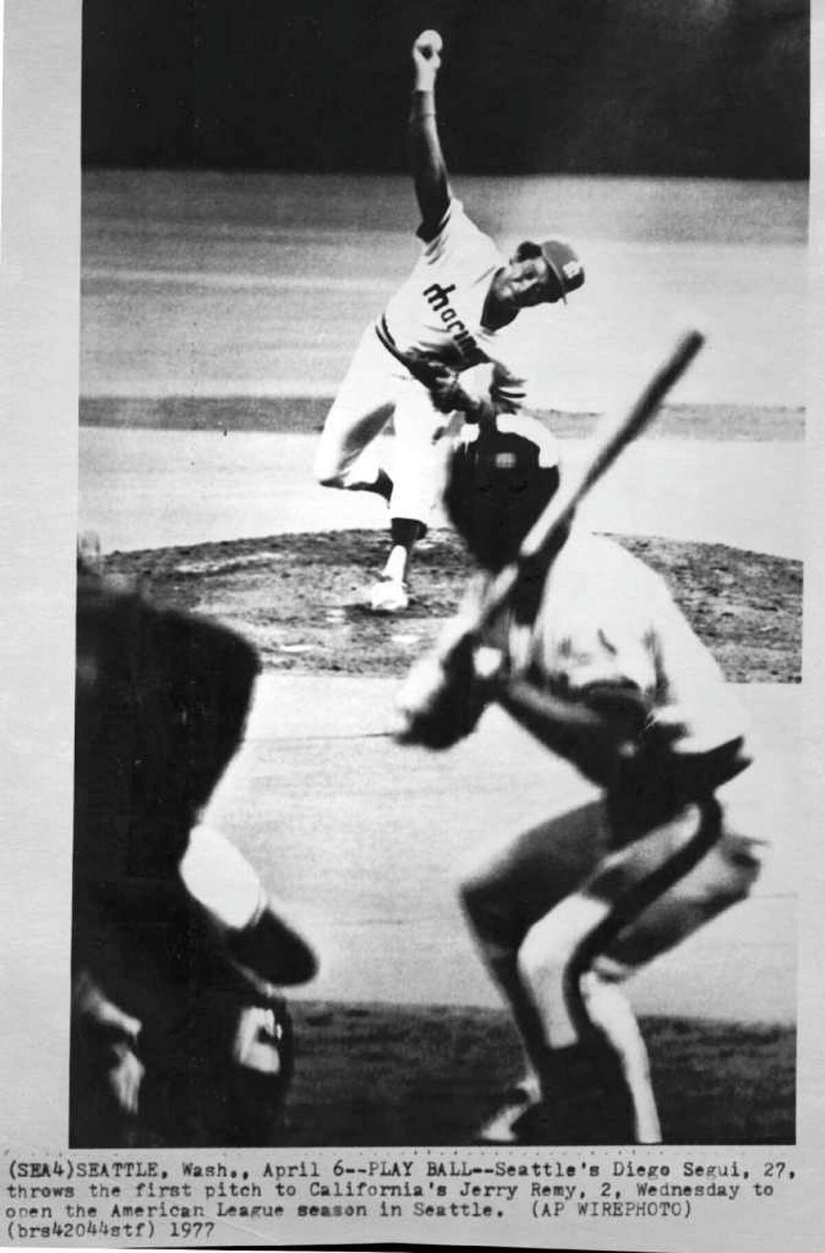 Diego Segui's first pitch in the team's first season was full of hope. Unfortunately, the 1977 Mariners were not full of talent. They managed to drop nine games from Aug. 7-15.