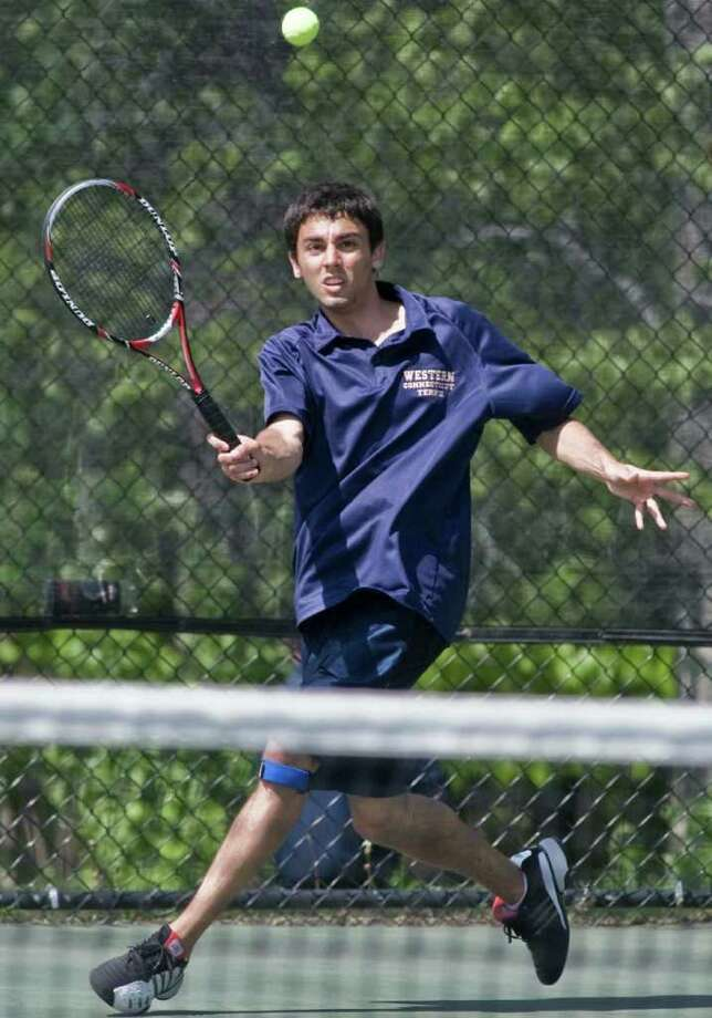 WestConn tennis player Troy Pandolfi, shown in this file photo from 2010, won the Men's Open Singles Division title at the Connecticut Public Parks Tennis Championships in Stamford. Photo: Scott Mullin