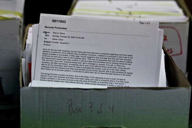 Emails from the hard drive of Steve Raucci at Mont Pleasant Middle School, Schenectady, on Monday, July 18, 2011. The school has preserved over 10,000 emails filling four boxes with the files. (Erin Colligan / Special To The Times Union)