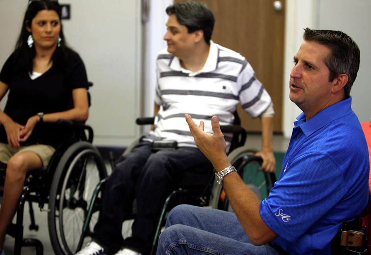 Guest speaker Brian Scheele talks to Rolling Inspiration group members on July 13, 2011.