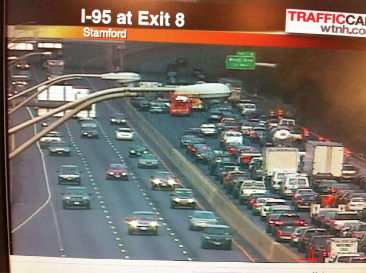 This traffic camera via WTNH shows traffic being backed up after a multi-vehcile crash just north of exit 6 on I-95 southbound in Stamford on Tuesday, July 19, 2011.