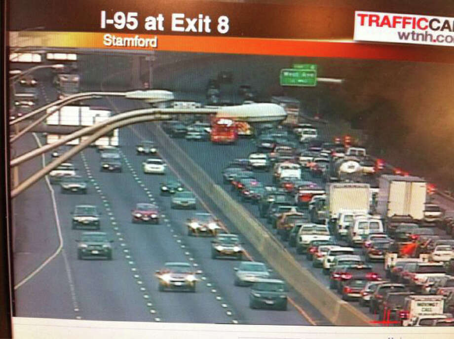 This traffic camera via WTNH shows traffic being backed up after a multi-vehcile crash just north of exit 6 on I-95 southbound in Stamford on Tuesday, July 19, 2011. Photo: Contributed Photo