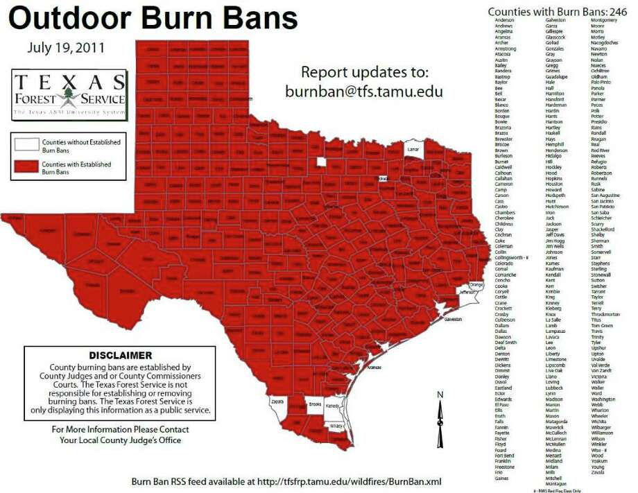 Texas counties with current burn bans (as of July 19) Photo: Texas Forest Service