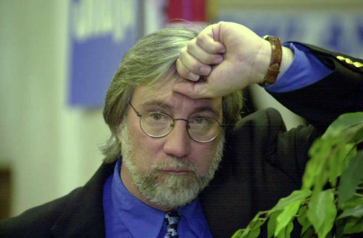 Rick McQuaid reacts to his loss in the 140th race for the State House of Representatives as polling numbers came in to the Republican headquarters in 2002. McQuaid was struck by lightning Monday and is recovering at Norwalk Hospital.