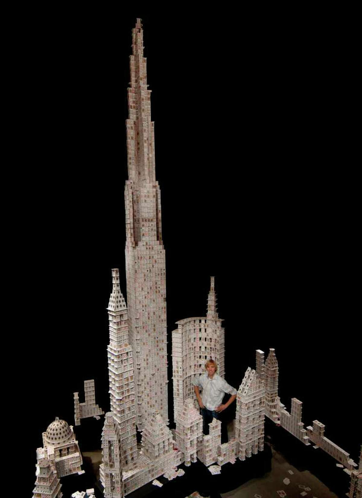 This model of the Dallas skyline was nearly 26 feet tall and required 1100 decks of cards to build. The tower was constructed in Dallas, Texas in 2007 and holds the Guinness World Record for Tallest House of Cards.