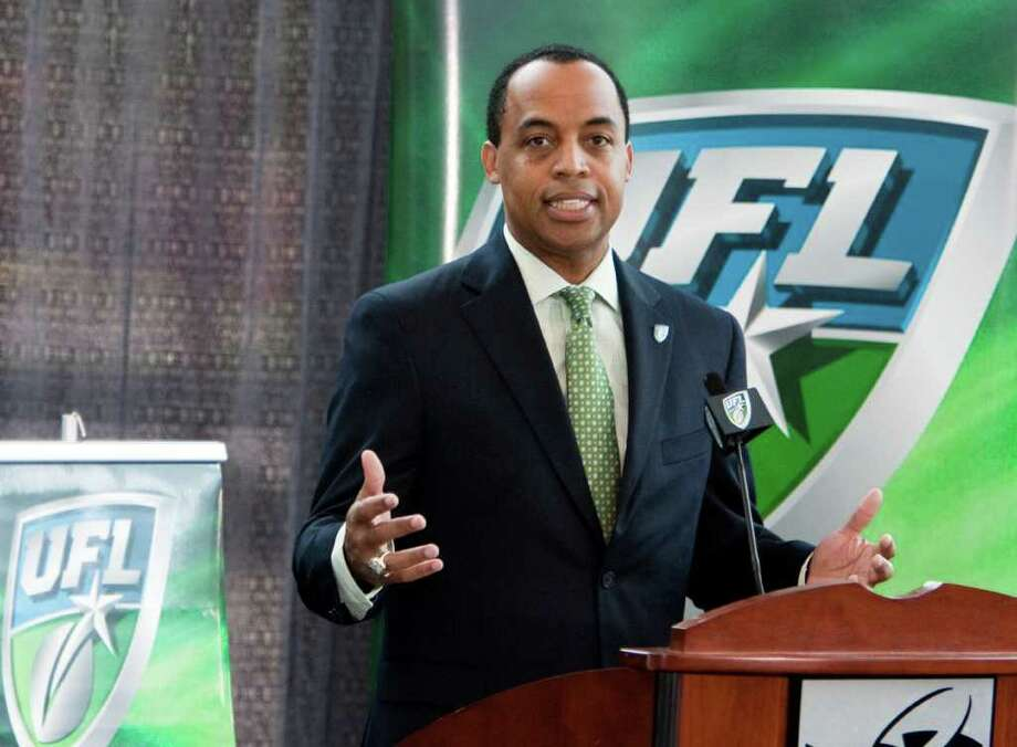 FILE - This April 15, 2010, file photo shows United Football League commissioner Michael Huyghue during a news conference, in Omaha, Neb. A person familiar with the situation says the UFL will push back the start of its third season because of ongoing financial problems. A league official said Tuesday, July 19, 2011, the season would begin in mid-September instead of mid-August. The person spoke on condition of anonymity because the UFL has not officially announced the move. (AP Photo/Nati Harnik, File) Photo: Nati Harnik, STF
