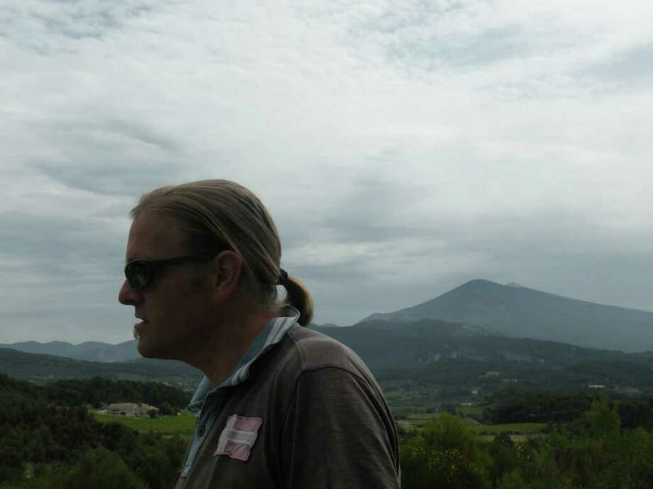 Even Bakke in front of his vineyards, with Mont Ventoux in the background. Photo: Courtesy Photo
