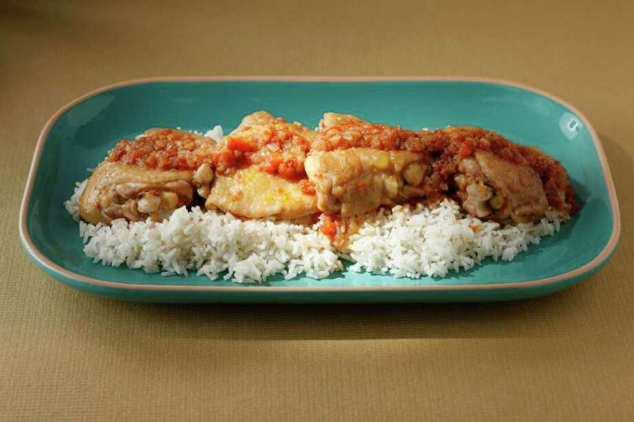 Egyptian-Style Braised Chicken as seen in San Francisco, California, on Wednesday May 4, 2011. Food styled by Lynne Char Bennettt. Photo: Craig Lee, Special To The Chronicle / Craig Lee