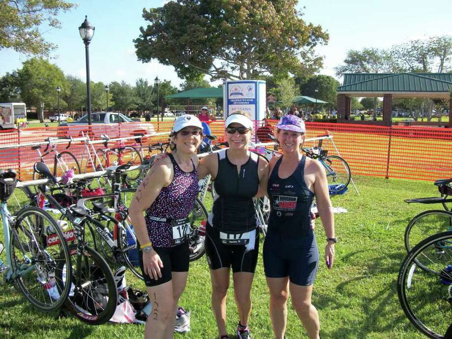 Dena Sokolow, Jacqueline Fein, and Carole Penning became friends through training for marathons. Now they compete in triathlons. Pictured from left are Sokolow, Fein and Penning.  Photo credit goes to Dena Sokolow. Photo: COURTESY DENA SOKOLOW