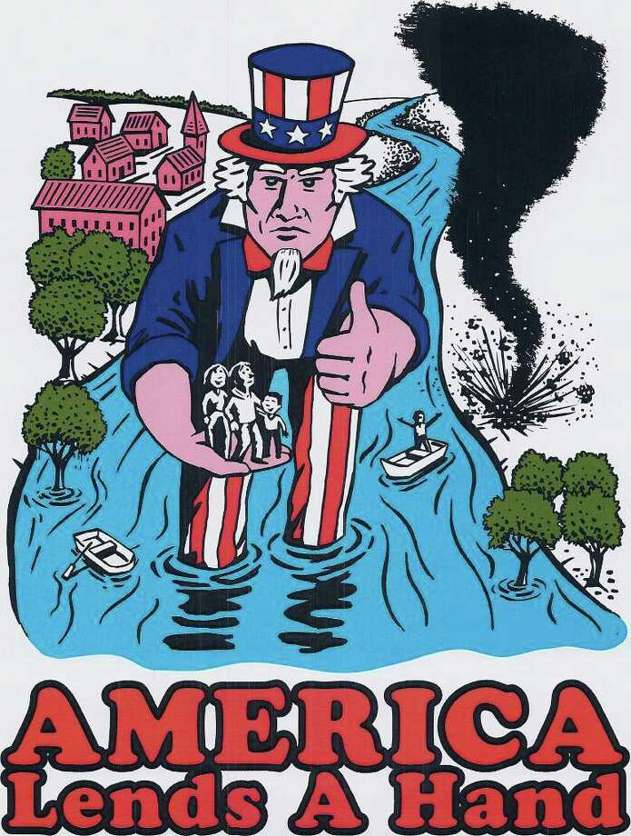 The T-shirt design features a giant Uncle Sam lending a hand amid a flood and tornado. Photo: Contributed Photo / Westport News