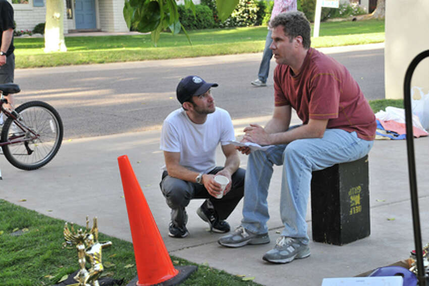 (L-R) Dan Rush and Will Ferrel on the set of