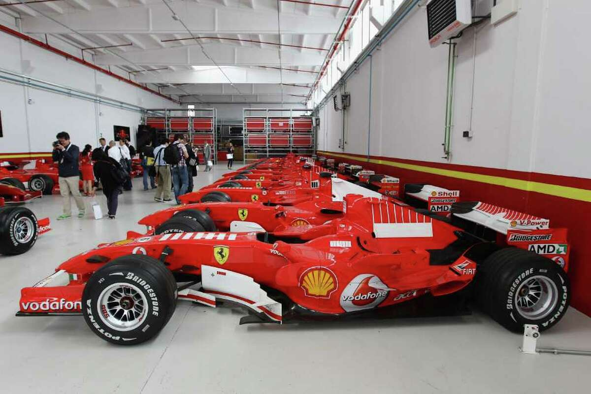 MARANELLO, ITALY - JULY 19: Ferrari cars are displayed in the Ferrari Formula 1 clients department during a Ferrari factory tour on July 19, 2011 in Maranello, Italy. Ferrari S.p.A. is an Italian manufacture based in Maranello and founded by Enzo Ferrari in 1929. (Photo by Vittorio Zunino Celotto/Getty Images)
