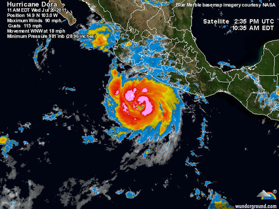 Hurricane Dora continues to strengthen off Mexico's west coast. Photo provided by Weather Underground