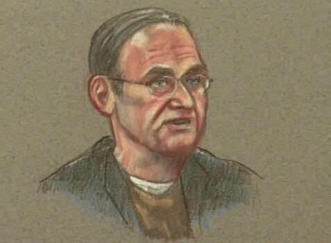 In this courtroom sketch, Theodore Coukoulis, a civilian nurse, testifies in the Article 32 hearing of Maj. Nidal Malik Hasan, inside the U.S. Magistrate court Tuesday, Oct. 19, 2010 in Fort Hood, Texas. Three young soldiers showed no fear and didn't try to hide in the face of certain death as a lone gunman approached them during a deadly shooting rampage at Fort Hood, the civilian nurse testified at the military hearing Tuesday. Photo: AP