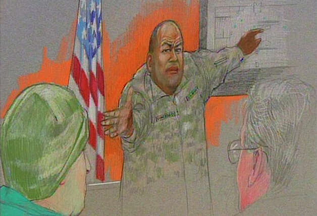 In this courtroom sketch, Sgt. Alonzo Lunsford testifies during the Article 32 hearing for Maj. Nidal Malik Hasan, left, at the U.S. Magistrate court Wednesday, Oct. 13, 2010 in Fort Hood, Texas, as lead defense attorney John Galligan looks on at right. Hasan, 40, is charged with premeditated murder and attempted premeditated murder in a Nov. 5, 2009 attack, which killed 13 people and wounded 32 others in a processing center where soldiers were making final preparations to deploy. Photo: AP