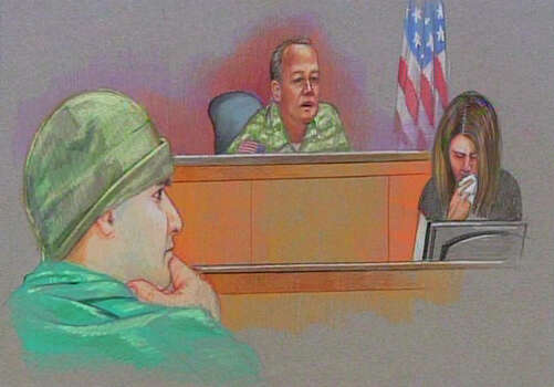 In this courtroom sketch, Maj. Nidal Malik Hasan, left, and, Col. James L. Pohl, center, a military judge acting as the investigating officer in the case, are shown during Hasan's Article 32 hearing at the U.S. Magistrate court Wednesday, Oct. 13, 2010 in Fort Hood, Texas. Hasan, 40, is charged with premeditated murder and attempted premeditated murder in a Nov. 5, 2009 attack, which killed 13 people and wounded 32 others in a processing center where soldiers were making final preparations to deploy. Photo: AP