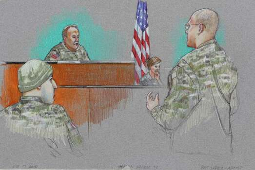 In this courtroom sketch, defense attorney Lt. Col. Kris Poppe, right, speaks to Investigating Officer Col. James L. Pohl, center, while Maj. Nidal Malik Hasan, left, listens during Hasan's Article 32 hearing inside the U.S. Magistrate court Tuesday, Oct. 12, 2010 in Fort Hood, Texas. Hasan, 40, is charged with premeditated murder and attempted premeditated murder in a Nov. 5 attack , which killed 13 people and wounded 32 others in a processing center where soldiers were making final preparations to deploy. The Article 32 hearing, which will determine whether there is enough evidence to put the Army psychiatrist on trial, was adjourned for the day Tuesday when defense attorneys asked for a nearly month-long delay. Unidentified woman, center right, is a court reporter. Photo: AP