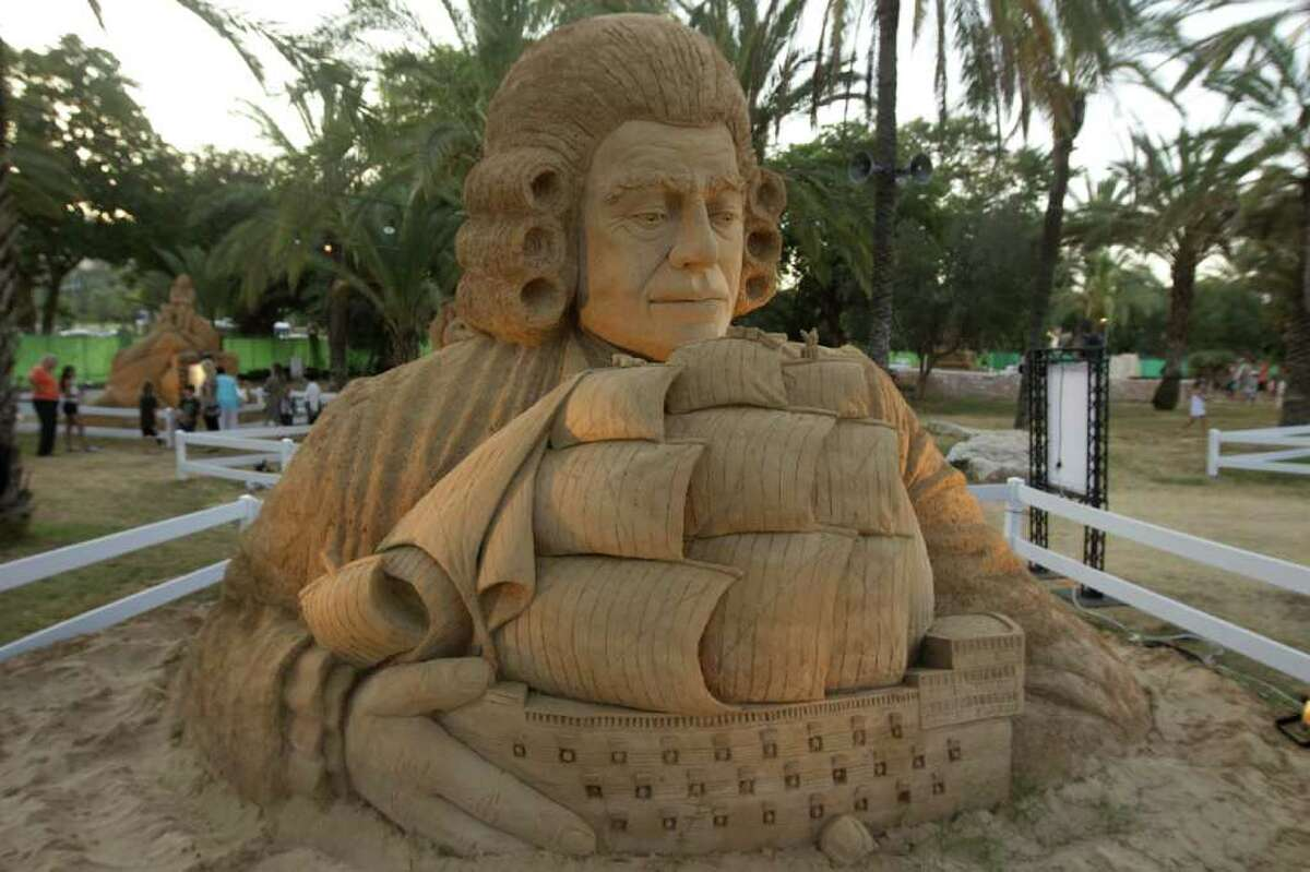 Sculptors from Israel and the World Sand Sculpting Academy in the Hague, Netherlands, created 18 sand sculptures, each about 12 feet high, for the Tales in Sand Exhibition at the Eretz Israel Museum in Tel Aviv, seen here on July 20, 2011.