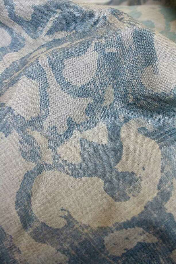 Detail of one of the textiles of designer Rusty Arena. Photo: Melanie Warner Spencer, Glhome0717