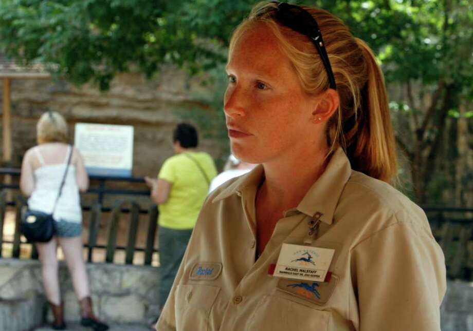 Rachel Malstaff, a senior zoo keeper, talks about her role at the zoo as Zoo Keepers at the San Antonio Zoo celebrate National Zoo Keeper Week on Wednesday, July 20, 2011. OMAR PEREZ/operez@express-news.net Photo: OMAR PEREZ, San Antonio Express-News / SAN ANTONIO EXPRESS-NEWS