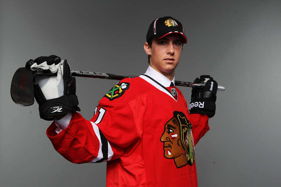 Westporter Mike Paliotta was drafted by the Chicago Blackhawks Saturday in the third round. Paliotta will play for the University of Vermont on a full scholarship next year. Photo: Nick Laham/Getty Images