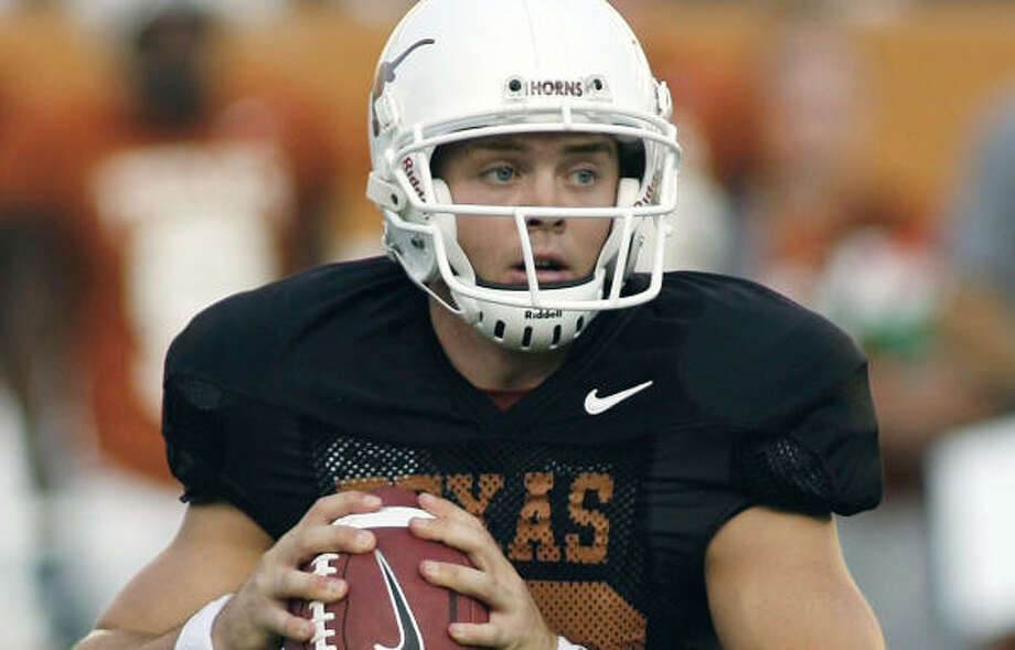 Texas quarterback Colt McCoy will start on Saturday. Photo: HARRY CABLUCK, AP