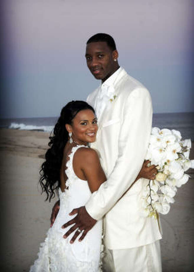 Tracy McGrady med vakker, Kone CleRenda Harris