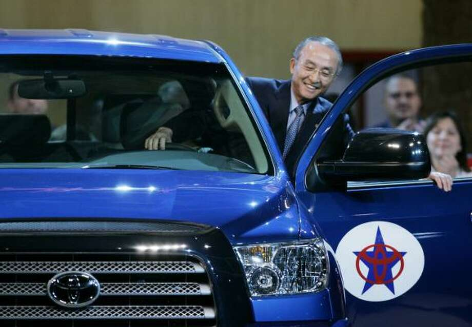 Toyota Motor Corp. President Katsuaki Watanabe climbs into a 2007 Tundra on Friday at the launch of the latest version. Photo: ERIC GAY, AP