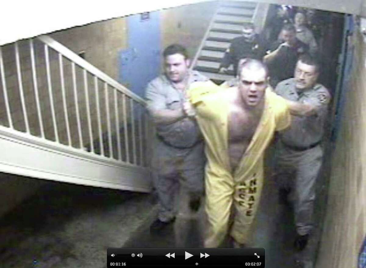 Frame grab from a 2007 video submitted to the Times Union which shows then inmate, Randy Vanauken of Altamont, being chased through the Albany County jail corridors and stairways. The action is speeded up and set the music of ?Yackety Sax,? lending the attempted escape the feel of a Keystone Kops comedy. The original tape was made four years ago with footage taken from surveillance cameras and put together by an investigator who looked into the incident in which an officer was hurt. The tape was later spun into a comedy by one of the investigators and is said to have been widely circulated among jail officers.