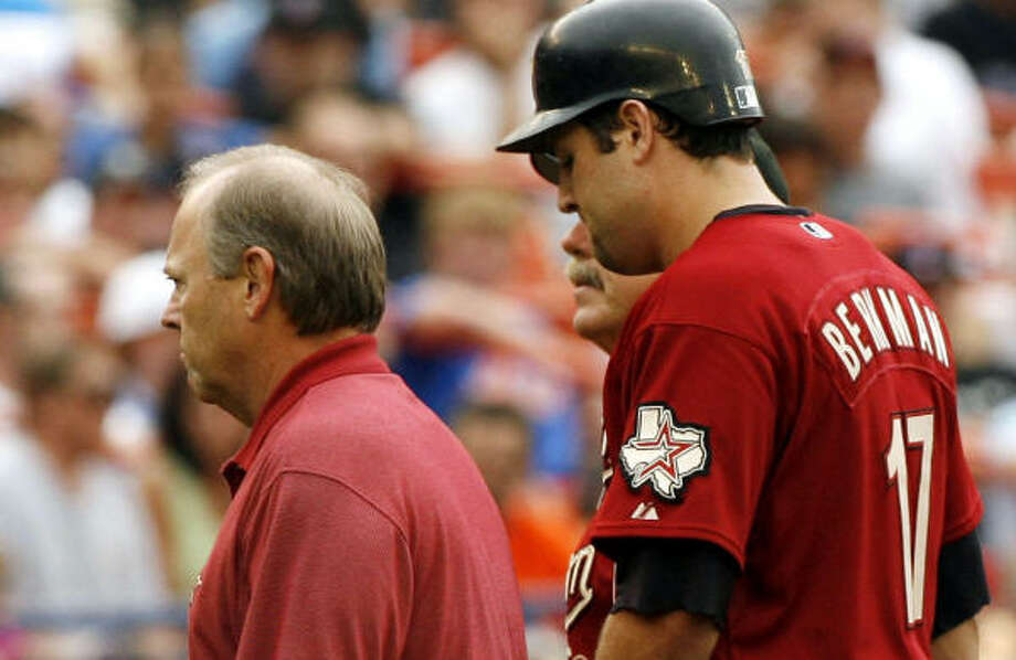 Lance Berkman left the game in the fifth inning after straining his groin on an RBI double. Photo: KATHY WILLENS, AP