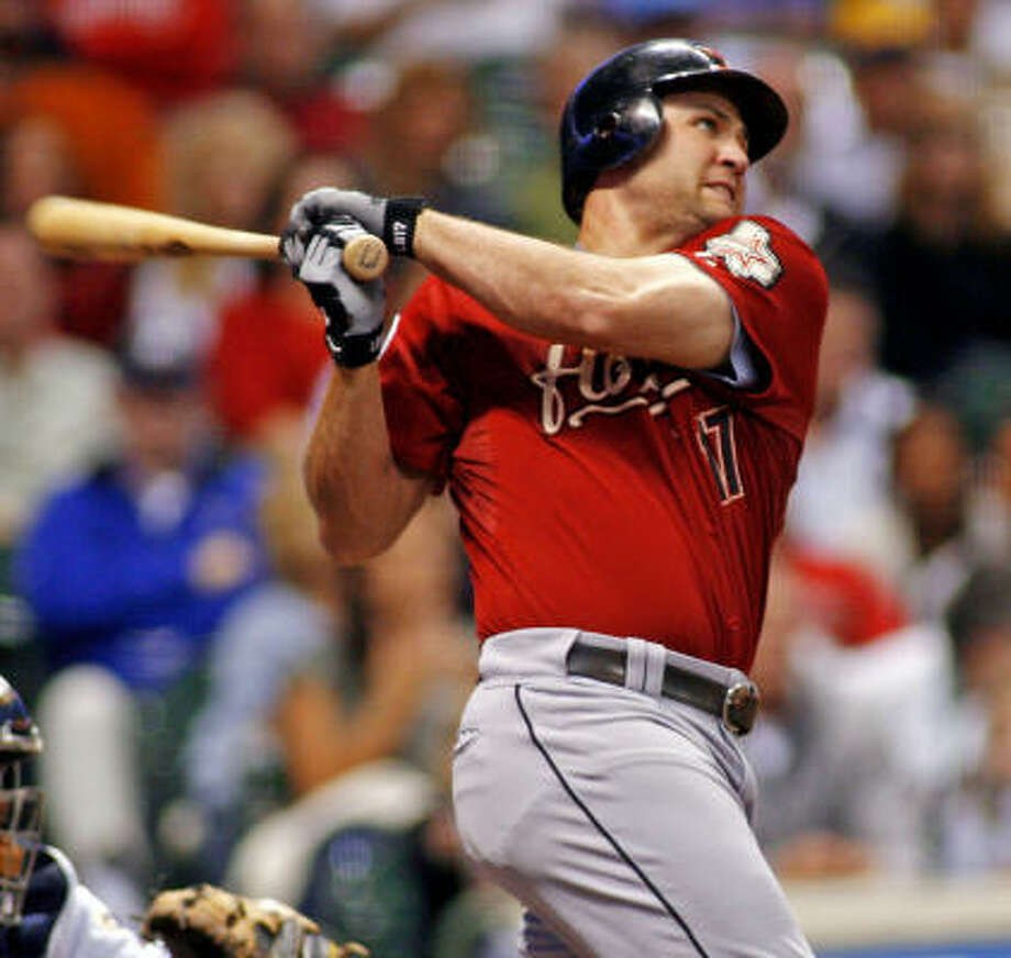 Lance Berkman homers in the seventh at Milwaukee. Photo: DARREN HAUCK, AP