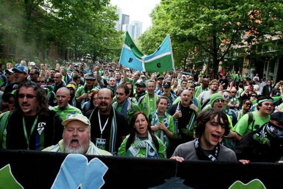 Seattle Sounders fans rally. Photo: JOE DYER / SEATTLEPI.COM