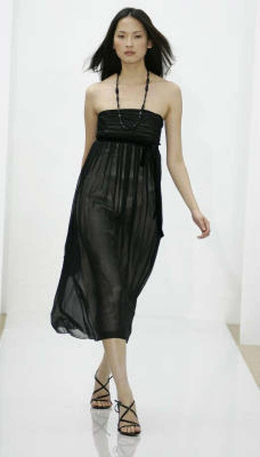 The Jillian silk georgette strapless bridesmaid dress in black, $188. Photo: Ann Taylor