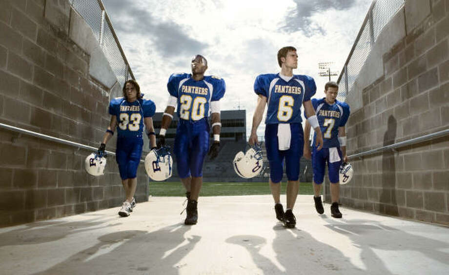 Taylor Kitsch, from left, Gaius Charles, Scott Porter and Zach Gilford star in Friday Night Lights. Photo: NBC