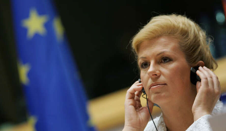 Croatian Foreign Minister Kolinda Grabar-Kitarovic meets at European Union headquarters last week in Brussels. Croatia will have to wait longer to join the EU, which is putting its expansion on hold after two recent additions, a blow to the stable nation. Photo: JOHN THYS, AFP/Getty Images