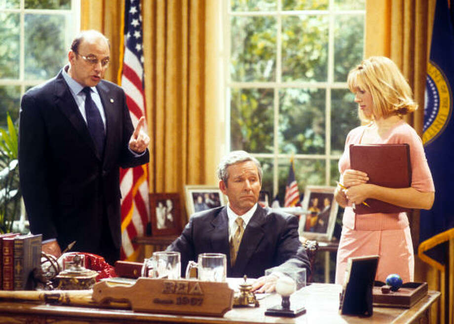 Kurt Fuller, left, Timothy Buttoms and Kristen Miller star in That's My Bush. Photo: Comedy Central