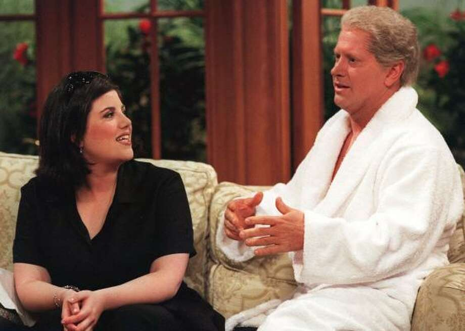 Darrell Hammond performs a skit with Monica Lewinsky during the May 8, 1999, broadcast of Saturday Night Live, in New York. Photo: MARY ELLEN MATTHEWS, Associated Press