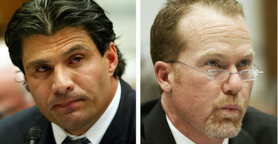 Hall nominees Jose Canseco, left, and Mark McGwire were teammates in Oakland. Photo: GERALD HERBERT, AP
