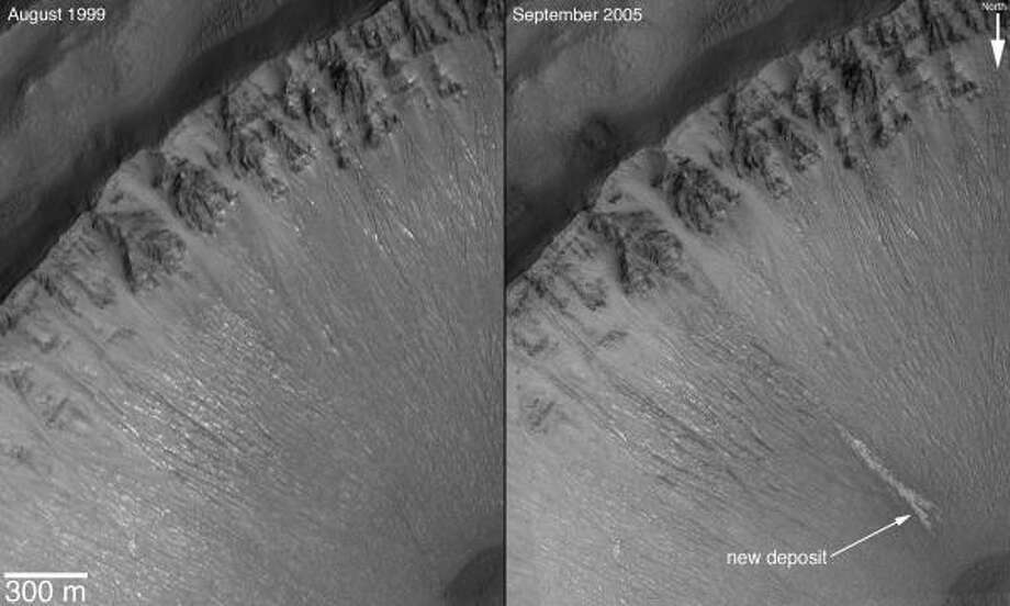Photos from the Mars Global Surveyor show a gully formation appeared in the planet's south between 1999 and 2005. Photo: AP