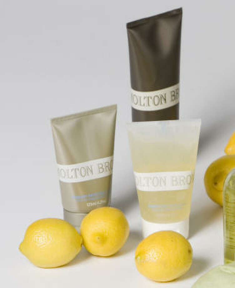 Molton Brown Ultra Calm Lemon Leaf Shave, $23, and Ultra Papain Daily Facial Wash, $20, available at Bath & Body Works or www.moltonbrown.com Photo: Nick De La Torre, CHRONICLE