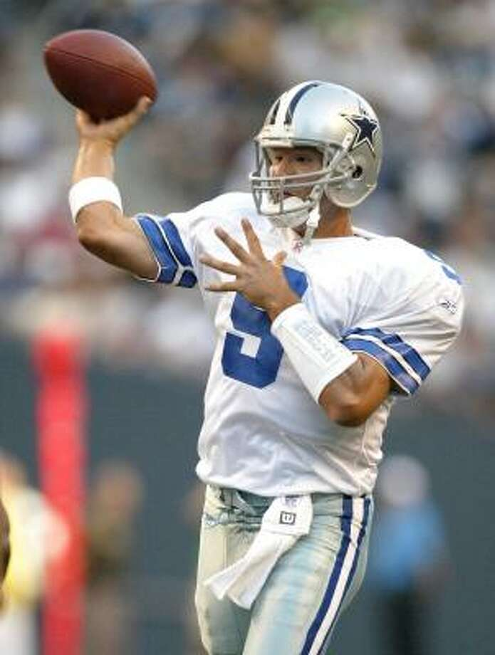 Quarterback Tony Romo (pictured) is entrenched as the Cowboys' No. 2 quarterback, and coach Bill Parcells hopes he'll take over some day for Drew Bledsoe. Photo: Otto Greule Jr, Getty Images