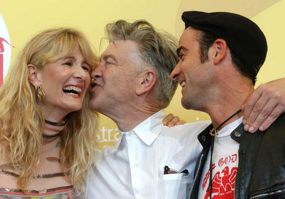 David Lynch, center, Laura Dern and Justin Theroux present Inland Empire, Sept. 6 at the Venice Film Festival, in Venice, Italy. Photo: LUIGI COSTANTINI, Associated Press