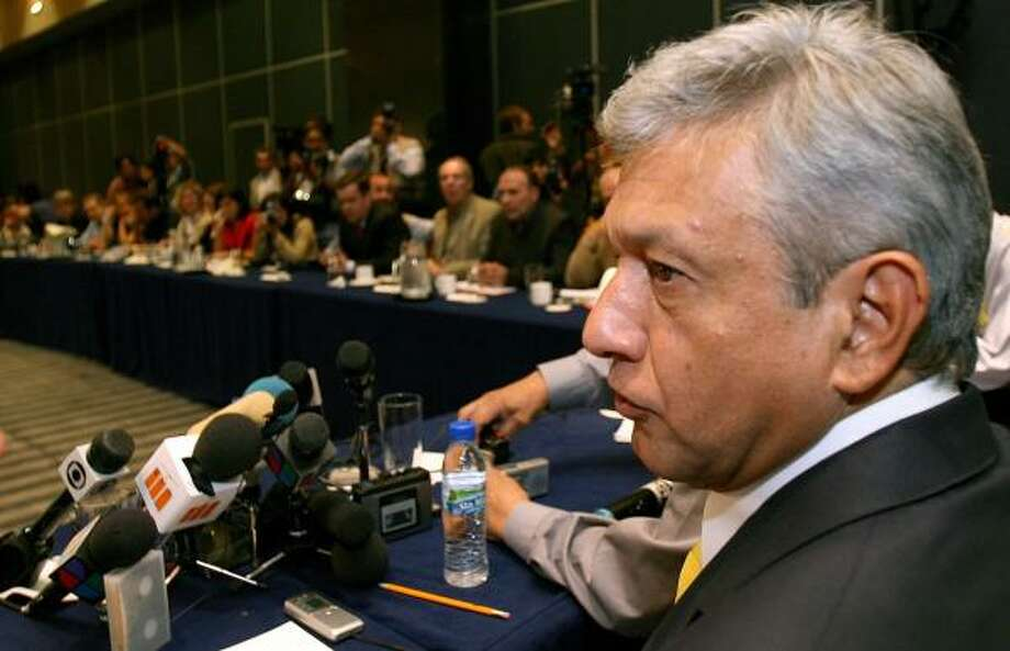 Andres Manuel Lopez Obrador, presidential candidate of the Democratic Revolutionary Party, speaks during a meeting with the foreign media in Mexico City on Saturday. Photo: DANIEL AGUILAR, REUTERS