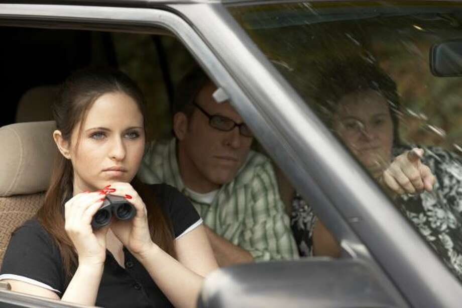 Lindsey Howell, left, Kirby Dick and Becky Altringer stakeout the Motion Picture Association of America headquarters in The Film is Not Yet Rated. Photo: IFC Films