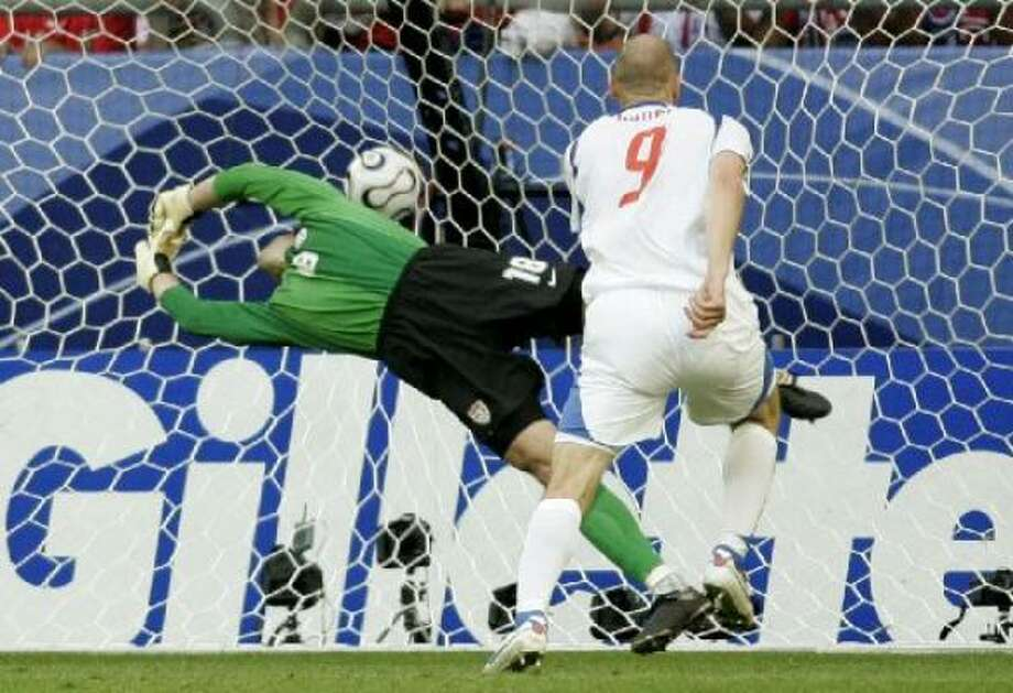 The Czech Republic's Jan Koller, right, scores on a header against the U.S. today in Germany. Photo: Martin Meissner, AP
