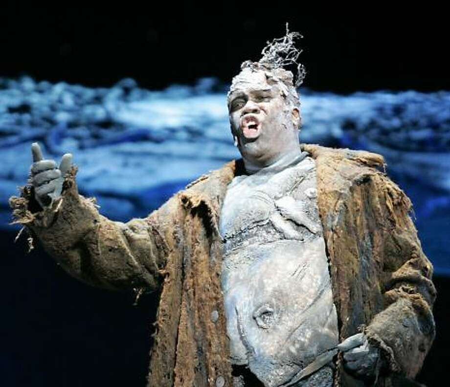 Eric Owens sings the title role in Grendel, a retelling of the medieval Beowulf epic. The $2.8 million opera premiered in Los Angeles. Photo: MAX MORSE, Reuters
