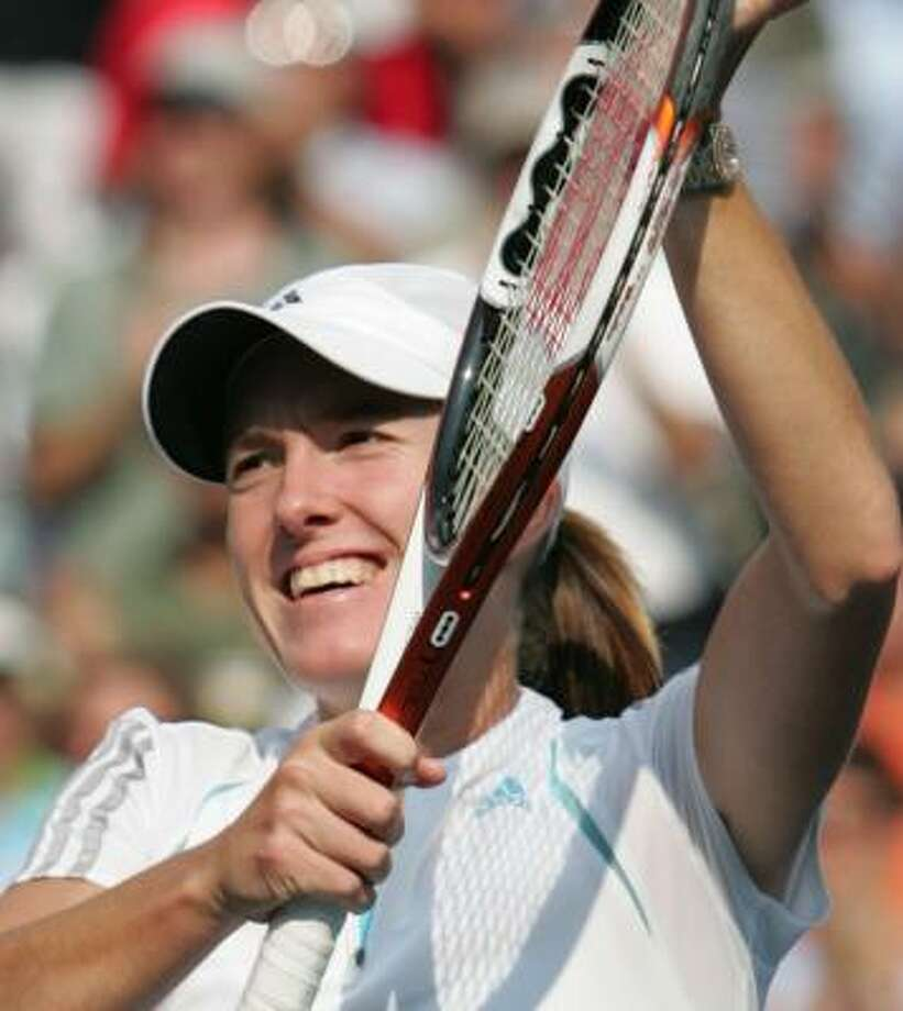 Justine Henin-Hardenne overcame 12 double faults in the first two sets of her Open semifinal. Photo: JEFF ZELEVANSKY, REUTERS